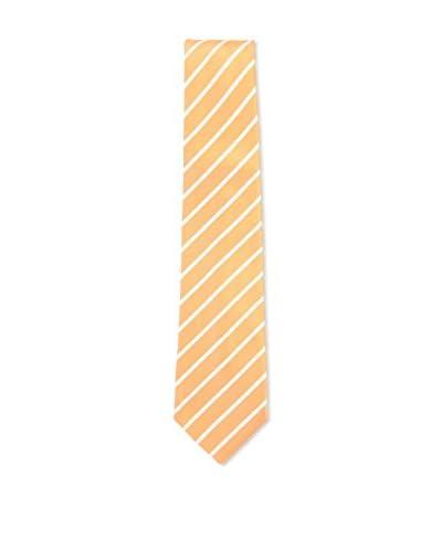 Kiton Men's Diagonal Striped Tie, Orange/White