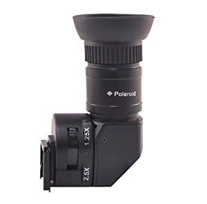 Polaroid 1X-2.5X Right Angle Viewfinder for Canon EOS, Nikon, Olympus, Panasonic, Sony, & Pentax Digital SLR Cameras
