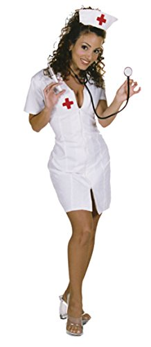 Underwraps Womens Sexy Hot Flash Nurse Low Cut Neckline Medical Fancy Costume