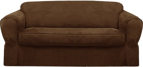 Maytex Piped Suede 2-Piece Slipcover Loveseat, Brown