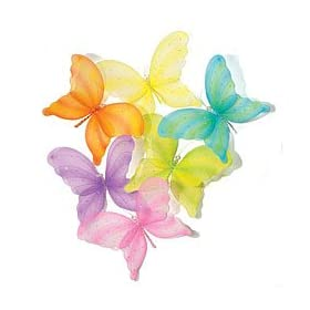 Large Hanging Nylon Butterflies Set Of 6