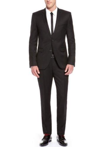 Honeystore Men'S One Vent Slim Lapel Suits Color Black Size Medium