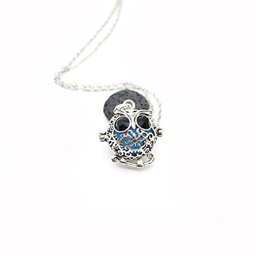 Fashion Owl Essential Oil Diffuser Pendant Necklace Antique Silver