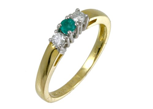 9ct Yellow Gold Diamond and Emerald 3-Stone Ladies' Ring Size M