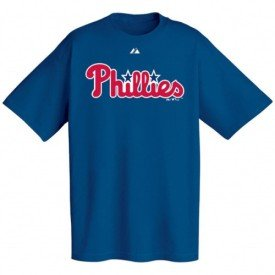 Majestic Philadelphia Phillies Royal Blue Wordmark T-shirt (XX-Large) at Amazon.com