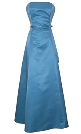 50s Strapless Satin Long Bridesmaid Prom Dress Formal Junior Plus Size, XS, Aqua