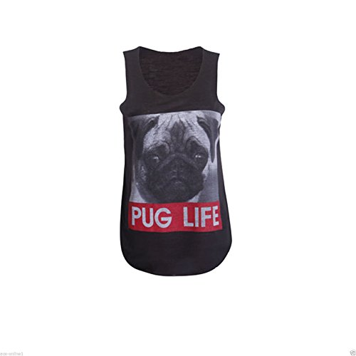 PurpleHanger Women's Dog Face Pug Life Print Scoop Neck Vest Tee Top Black 8-10