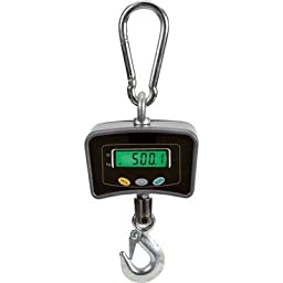 The Mini Digital Crane Hanging Scale Capacity 1100ibs/ 500kgs with LED Display Charging (gray)