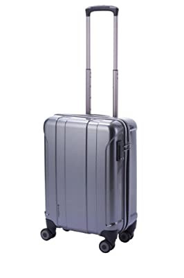 Hideo Wakamatsu Lightweight Twin Carry On Cabin Hard Suitcase 4 Wheel Spinner Grey