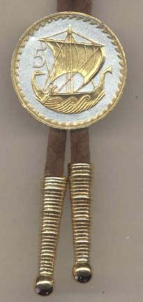 """Cyprus 5 Mils """"Viking Ship"""" Two Tone Coin Bolo Tie: Sports & Outdoors"""