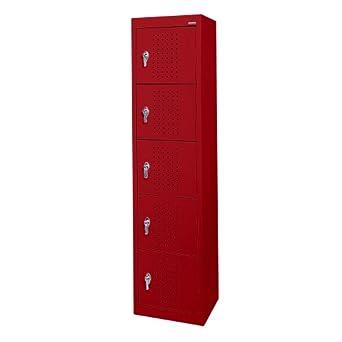 """Sandusky Lee LF55151866-01 Red Steel Powder Coat 5-Tier Welded Storage Locker, 66"""" Height x 15"""" Width x 18"""" Depth"""