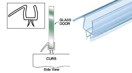 "New CRL Co-Extruded Clear Bottom Wipe with Drip Rail for 1/2"" Glass - 32-5/8 in long"