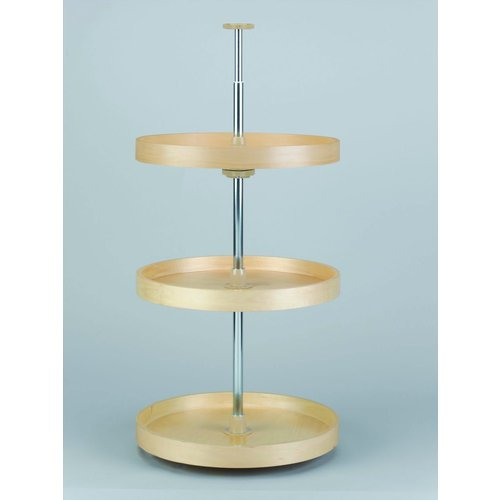20in 3 Shelf Full Circle Banded Wood Lazy Susan Set