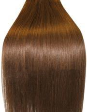 Double Wefted, 18 inch Double thickness MEDIUM BROWN (Col 6). Full Head Clip in Human Hair Extensions. High quality Remy Hair!