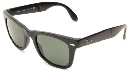 Ray-Ban RB4105 Folding Wayfarer, Occhiali da sole da uomo, Nero (Matt Black 601S), S