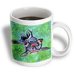3Drose Black Moor Goldfish, Telescope Goldfish, Dragon Eye Goldfish, Ceramic Mug, 11-Oz