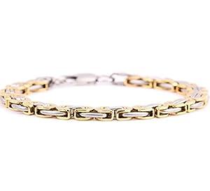 Gudeke Fashion Simple Men Golden Great Wall Texture Patten Bracelet Cuff Bangle