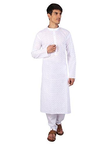 Rajubhai Hargovindas White Chikan Embroidered Kurta