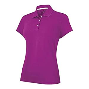 adidas Golf Women's Climalite Solid Jersey Polo, Passion Fruit, Large