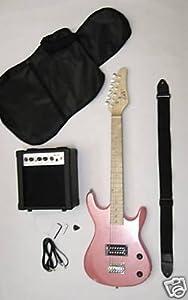 Junior Kids Mini 3/4 Electric Guitar Amp Starter Pack, Guitar, Temolo, Amplifier, Gig Bag, Strap, Cable, & DirectlyCheap(TM) Translucent Blue Medium Guitar Pick from DirectlyCheap