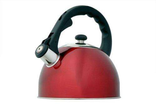 Creative Home Satin Splendor Metallic 2.8 Quart Whistling Tea Kettle, Cranberry
