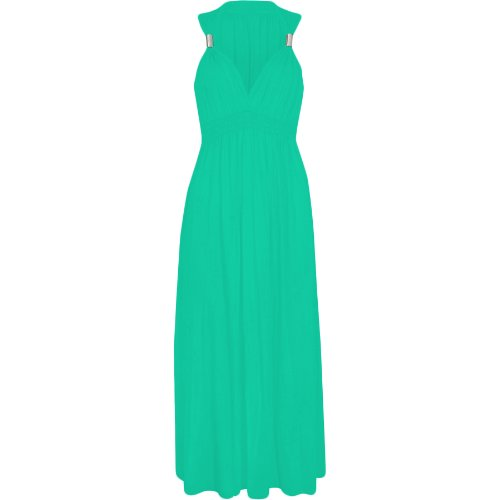 Ladies Long Stretch Womens Maxi Dress Coil Spring 1 Size (1 Size, Jade Green)