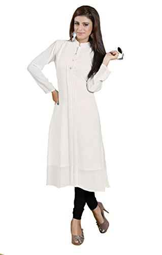 Metroz White Georgette Plain Fancy Kurti