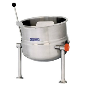 Left Handle Cleveland Kdt-20-T Tabletop Direct Steam Tilting 20 Gallon Steam Jacketed Kettle