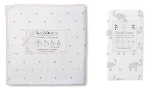 Swaddle Designs Ultimate Flannel & Marquisette Swaddle Baby Blankets, Little Dots Elephant Pink - 1