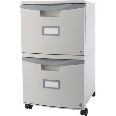 Storex 2-Drawer Mobile File Cabinet with Lock, 18.25 x 14.75 x 26 Inches, Legal/Letter, Gray (61310B01C) (Stackable Filing Cabinets compare prices)