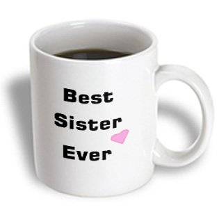 3Drose Best Sister Ever With Pink Heart Ceramic Mug, 11-Ounce