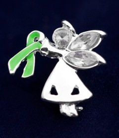 Green Ribbon Pin-Angel By My Side (27 Pins)