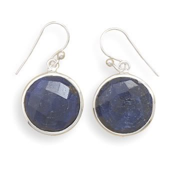 Round Faceted Rough-Cut Sapphire Earrings