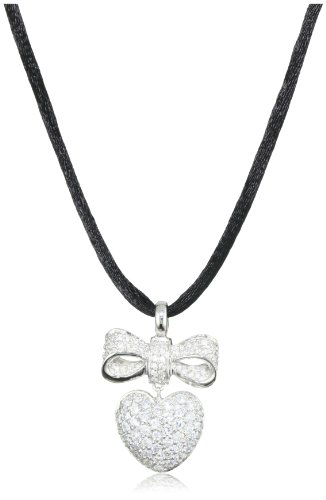 Giorgio Martello Sterling Silver Rhodium Plated Cubic Zirconium Pendant Necklace