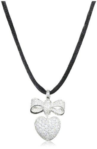 Giorgio Martello Sterling Silver Rhodium Plated Cubic Zirconium Pendant Necklace