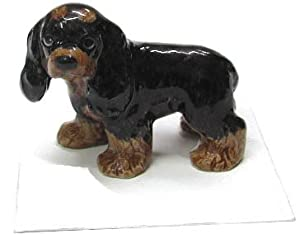 "COCKER SPANIEL DOG Black/Brown Puppy ""Teddy"" stands New Figurine MINIATURE Porcelain LITTLE CRITTERZ LC812"