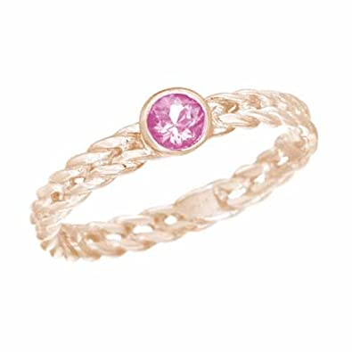 Ryan Jonathan Pink Topaz Stackable Solitaire Twisted Ring in 14K White Gold