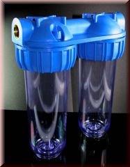 Hauswasserwerk-Aussenfilter-Doppelfilter-Leergehuse-Wasserfilter-10-Zoll-fr-Brunnenwasser-Zisterne