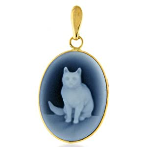14K Yellow Gold Blue Agate Cat Cameo Pendant