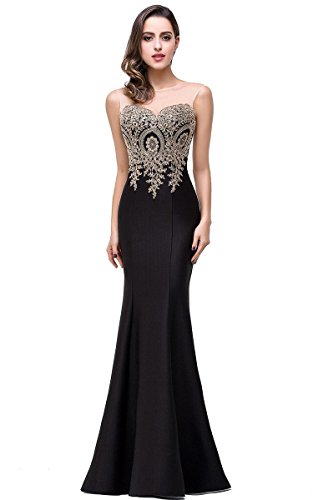 Mermaid Evening Dress Lace Appliques Sleeveless Prom Dress for Special Occasion, 6, Black