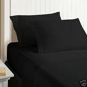 Amazon Com 4pc Solid Black Full Queen Duvet Cover Set