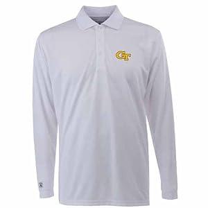 Georgia Tech Long Sleeve Polo Shirt (White) by Antigua