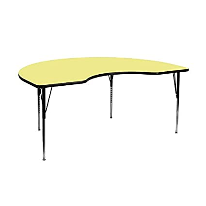 Flash Furniture 48''W x 72''L Kidney Shaped Activity Table with Yellow Thermal Fused Laminate Top and Standard Height Adjustable Legs [XU-A4872-KIDNY-YEL-T-A-GG]
