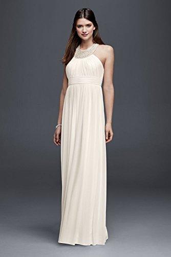 Chiffon Halter Neck Sheath Wedding Dress Style 183624DB, White, 10
