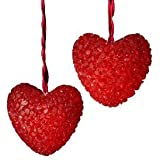 Set of 10 Red Valentines Day Heart Christmas Lights - Red Wire