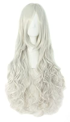 """MapofBeauty 32"""" 80cm Silver White Long Hair Curly Wavy Wig Cosplay Costume Wig"""