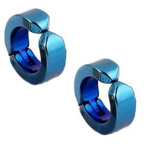 2 piece set simple イヤーカフ [blue] titanium fake piercing both ears for