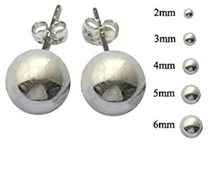5 Pair Set of Sterling Silver Round Ball Stud Earrings Our Stud earring set includes one pair each of 2mm 3mm 4mm 5mm 6mm plus A Free Gift Box