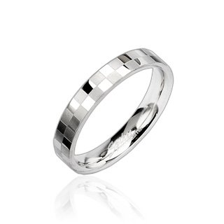 Checker Engraved Ring, Wedding Band Ring Stainless Steel Width: 4mm Comfort Fit (Size 11)
