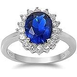 Petits Merveilles D'amour - Bague Femme - Argent Fin 925/1000 - Saphir Bleu Royal - Oxyde de Zirconium (Inspiré par pricess Diana)